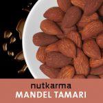 Geröstete Mandeln Tamari Nutkarma auf einem Teller.