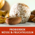 Closeup Nuss-Frucht Mix mit Energyballs und Nüsse